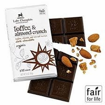 "Lake Champlain Chocolates - ""Organic Toffee & Almond Crunch"" Toffee, Almonds, and Sea Salt in Rich Dark Chocolate 57% Cocoa 3oz/85g"