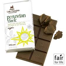 "Lake Champlain Chocolates - ""Organic Peruvian Dark"" Smooth Dark Chocolate with juicy notes of ripe red Berry 70% Cocoa, 3oz/ 85g"