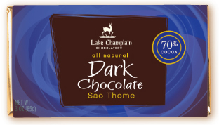 "Lake Champlain Chocolates - ""Sao Thome"" Single Origin Bar, Extra Dark Chocolate, 70% Cocoa, 3 oz. (12 Pack)"