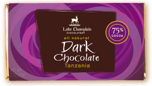 "Lake Champlain Chocolates - ""Tanzania"" Single Origin Bar, Extra Dark Chocolate, 75% Cocoa, 3 oz. (6 Pack)"