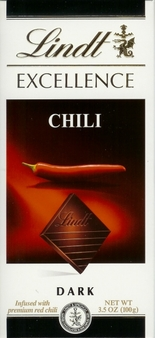 "Lindt Chocolate - Excellence Dark Chocolate with ""Chili"", 100g/3.5oz. (Single)"