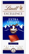Lindt Chocolate - Excellence Extra Creamy Milk Chocolate Bar, 100g/3.5oz.