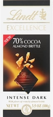 """Lindt Chocolate - Lindt Excellence """"Dark 70% Cocoa Almond Brittle"""", 100g/3.5oz."""