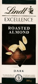 "Lindt Chocolate - Lindt Excellence ""Dark Chocolate with Roast Almond Slices"", 3.5oz./100g (6 Pack)"