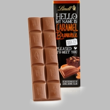"Lindt Chocolate - Lindt ""Hello My Name is Caramel Brownie"" Milk Chocolate with a Hazelnut and Caramel Brownie Filling 3.5 oz/100g (6 Pack)"