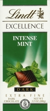 """Lindt Swiss Chocolate - Excellence Dark Chocolate with """"Intense Mint"""", 100g/3.5oz, Single Bar"""