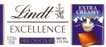 "Lindt Swiss Chocolate - Excellence ""Extra Creamy Milk"" Chocolate, 35g/1.2oz."