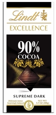 Lindt Swiss Chocolate - Excellence Supreme Dark Chocolate with 90% Cocoa, 100g/3.5oz.