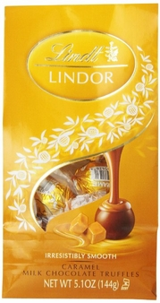 "Lindt Swiss Chocolate - Lindor Truffles ""Caramel Chocolate with a Smooth Filling!"", 12 Piece Bag, 144g/5.1oz. (Single)"
