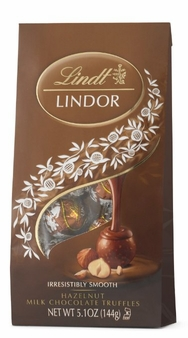 "Lindt Swiss Chocolate - Lindor Truffles ""Hazelnut Milk Chocolate with a Smooth Filling!"", 12 Piece Bag, 144g/5.1oz. (12 Pack)"