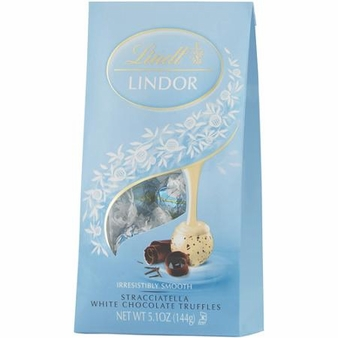 "Lindt Swiss Chocolate - Lindor Truffles ""STRACCIATELLA"" 12 Piece Bag! (12 Pack)"