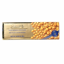 "Lindt Swiss Chocolate - Milk Chocolate with Whole Hazelnuts ""Gold Wrap"" Bar, 300g/10.58oz. (Single)"