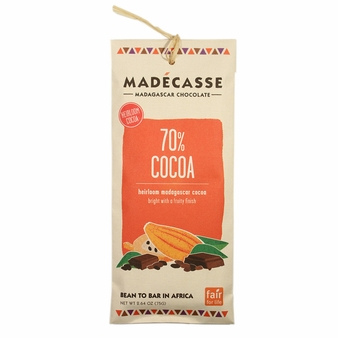 Madecasse Chocolate - Madagascar Dark Chocolate, 70% Cocoa, 75g/2.64oz (10 Pack).