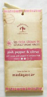 "Madecasse Chocolate ""Pink Pepper & Citrus"", 70% cocoa,  75g/2.64oz. (6 Pack)"
