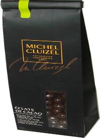 "Michel Cluizel French Chocolate - ""Eclats De Cacao"" Cocoa Bean Pieces coated with Dark Chocolate, 150g/5.29oz. (Single)."