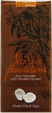 "Plantations Chocolate - ""75% Dark with Coconut"", Dark Chocolate with Shredded Coconut, Gluten Free & Vegan, 100g/3.5oz."