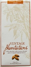 "Plantations Chocolate - ""Crunchy Almond Cream"", Milk chocolate with Almond Slivers, Gluten Free, 100g/3.5oz."
