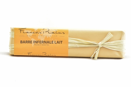 Pralus Barre Infernale Lait, Praline stuffed with Hazelnuts, French, Milk Chocolate, 45% Cocoa, 160g/5.64oz. (3 Pack)