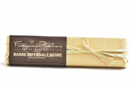 Pralus Barre Infernale Noire, Praline with Almonds, Dark Chocolate, 75% Cocoa, French, 160g/5.64oz. (Single)