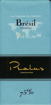 "Pralus French Chocolate - ""Bresil - Pure Origin"" Dark Chocolate, 75% Cocoa, 100g/3.5oz. (5 Pack)"