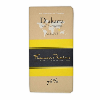 "Pralus French Chocolate - ""Djakarta - Pure Origin"" Dark Chocolate, 75% Cocoa, 100g/3.5oz (15 Pack)."