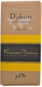 "Pralus French Chocolate - ""Djakarta - Pure Origin"" Dark Chocolate, 75% Cocoa, 100g/3.5oz (Single)."
