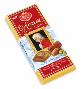Reber Mozart Classic Milk Chocolate Bar, 100g/3.5oz. (10 Pack)