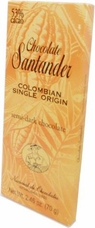 Santander 53% Semi-Dark Chocolate, Colombian Single Origin, 70g/2.46oz (5 Pack)