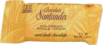 Santander 53% Semi-Dark Chocolate Mini-Squares, Colombian Single Origin, 6g/.2oz ea. (Single)