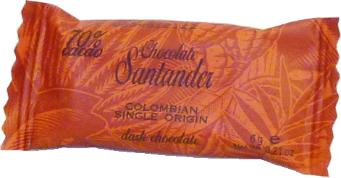 Santander 70% Dark Chocolate Mini-Squares, Colombian Single Origin, 6g/.2oz ea. (Single)