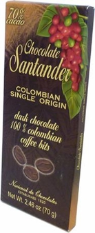Santander 70% Dark Chocolate with 100% Colombian Coffee Bits, Colombian Single Origin, 70g/2.46oz (5 Pack)