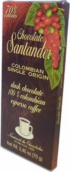 Santander 70% Dark Chocolate with 100% Colombian Espresso Coffee, Colombian Single Origin, 70g/2.46oz (10 Pack)