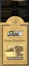 "Slitti Italian Chocolate - ""Gran Bouquet"" Extra Bitter Dark Chocolate & Chilli Pepper 73% Cocoa, 100g/3.5oz (Single)."