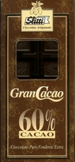 "Slitti Italian Chocolate - ""Gran Cacao"" Dark Chocolate 60% Cocoa, 100g/3.5oz (Single)."