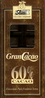 "Slitti Italian Chocolate - ""Gran Cacao"" Dark Chocolate 60% Cocoa, 100g/3.5oz (5 Pack)."
