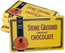 Taza 60% Stone Ground Dark Chocolate Bar, Organic, 85g/3oz (10 Pack)