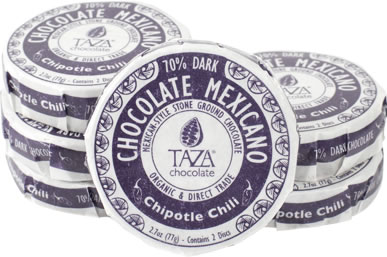 Taza Chipotle Chile 70% Dark Chocolate Mexicano, Organic, 77g/2.7oz (12 Pack)