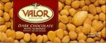 "Valor ""Chocolat Pur Aux Amandes"" Dark Chocolate with Almonds,52% Cocoa, 250g/8.75oz.  (5 Pack)"