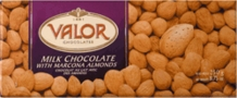 "Valor Chocolate - 34% Cocoa Milk Chocolate with ""Marcona Almonds"", 250g/8.75oz."