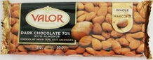 "Valor ""Dark Chocolate 70% with Almonds"", Whole Marcona Almonds, 70% Cocoa, 100g/3.5oz."