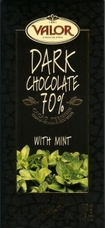 Valor Dark Chocolate Chocolate with Mint 70% Cocoa, 100g/3.5oz.