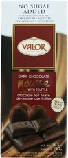 "Valor ""Dark Chocolate Mousse with Truffle"", Dark Chocolate, No Sugar Added, Creamy Filling, 52% Cocoa, 150g/5.29oz."