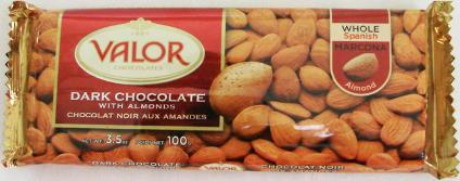 """Valor """"Dark Chocolate with Almonds"""", Whole Spanish Marcona Almonds, 52% Cocoa, 100g/3.5oz.  (5 Pack)"""