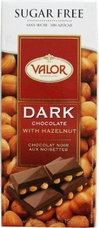 "Valor ""Dark Chocolate with Hazelnuts"", Sugar Free, 52% Cocoa, 150g/5.29oz.  (5 Pack)"