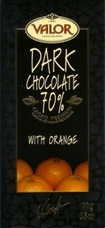 Valor Dark Chocolate With Orange 70% Cocoa, 100g/3.5oz. (Single)