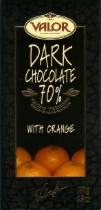 Valor Dark Chocolate With Orange 70% Cocoa, 100g/3.5oz.