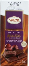 "Valor ""Milk Chocolate Mousse with Hazelnut"", Milk Chocolate, No Sugar Added, Creamy Filling, 36% Cocoa, 150g/5.29oz."