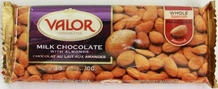 "Valor ""Milk Chocolate with Almonds"", Whole Spanish Marcona Almonds, 34% Cocoa, 100g/3.5oz."