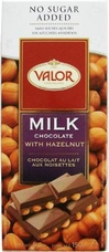 "Valor ""Milk Chocolate with Hazelnuts"", No Sugar Added, 36% Cocoa, 150g/5.29oz"
