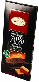"""Valor Spanish Chocolate - Dark Chocolate 70% Cocoa with """"Toffee"""", 100g/3.5oz. (17 Pack)"""